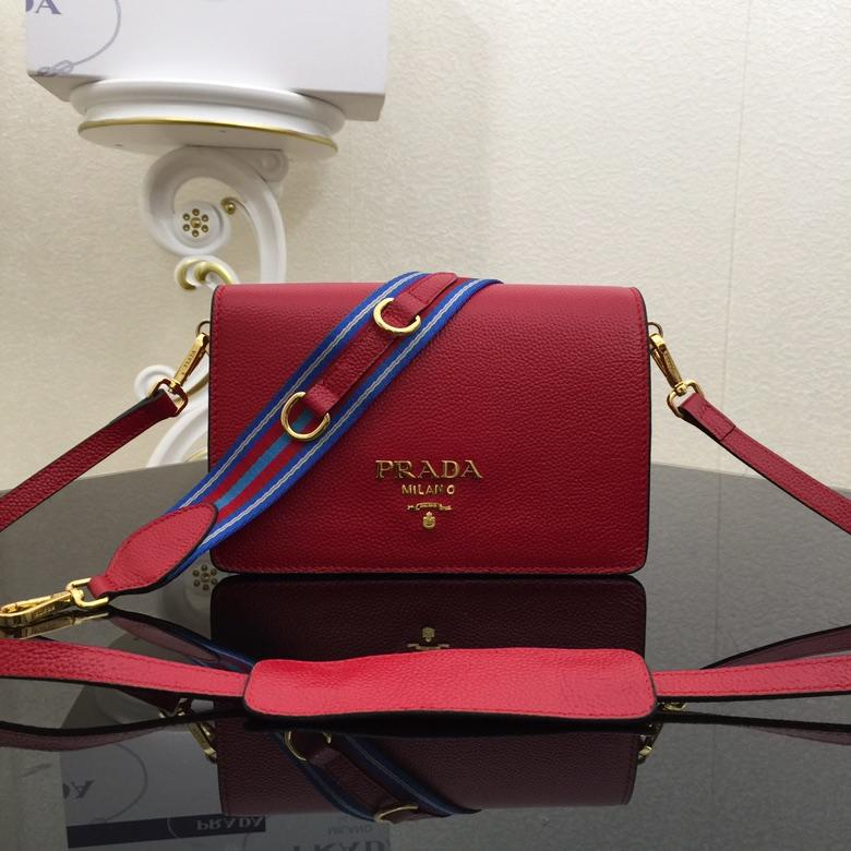 Prada 1BD102 Calf Leather Women Shoulder Bag Red