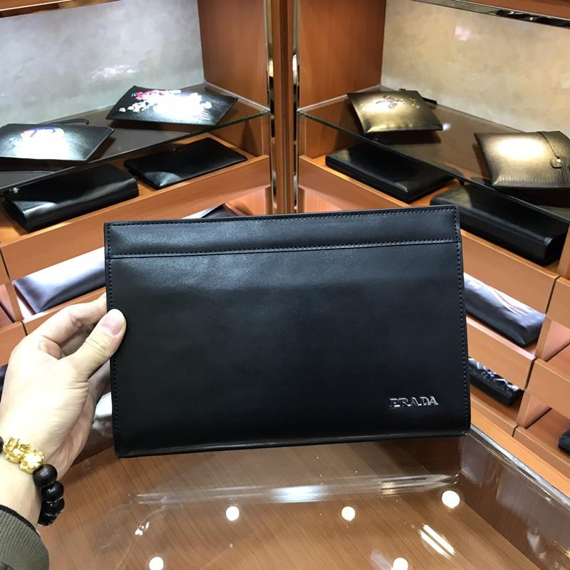 Prada 8175 Men Leather Zipper Clutch Bag Black