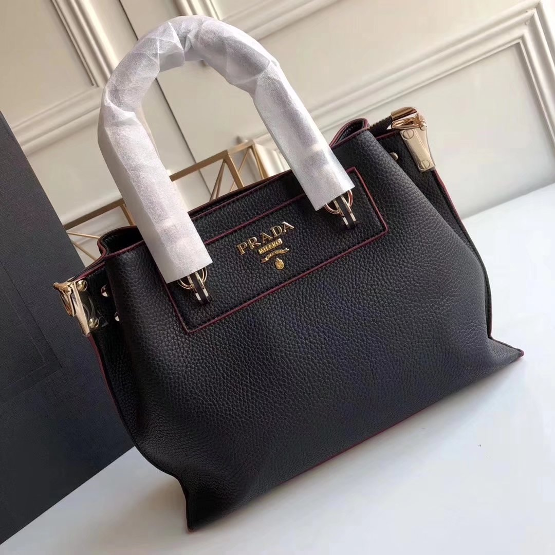 Prada 2018 Women Leather Tote Bag Black