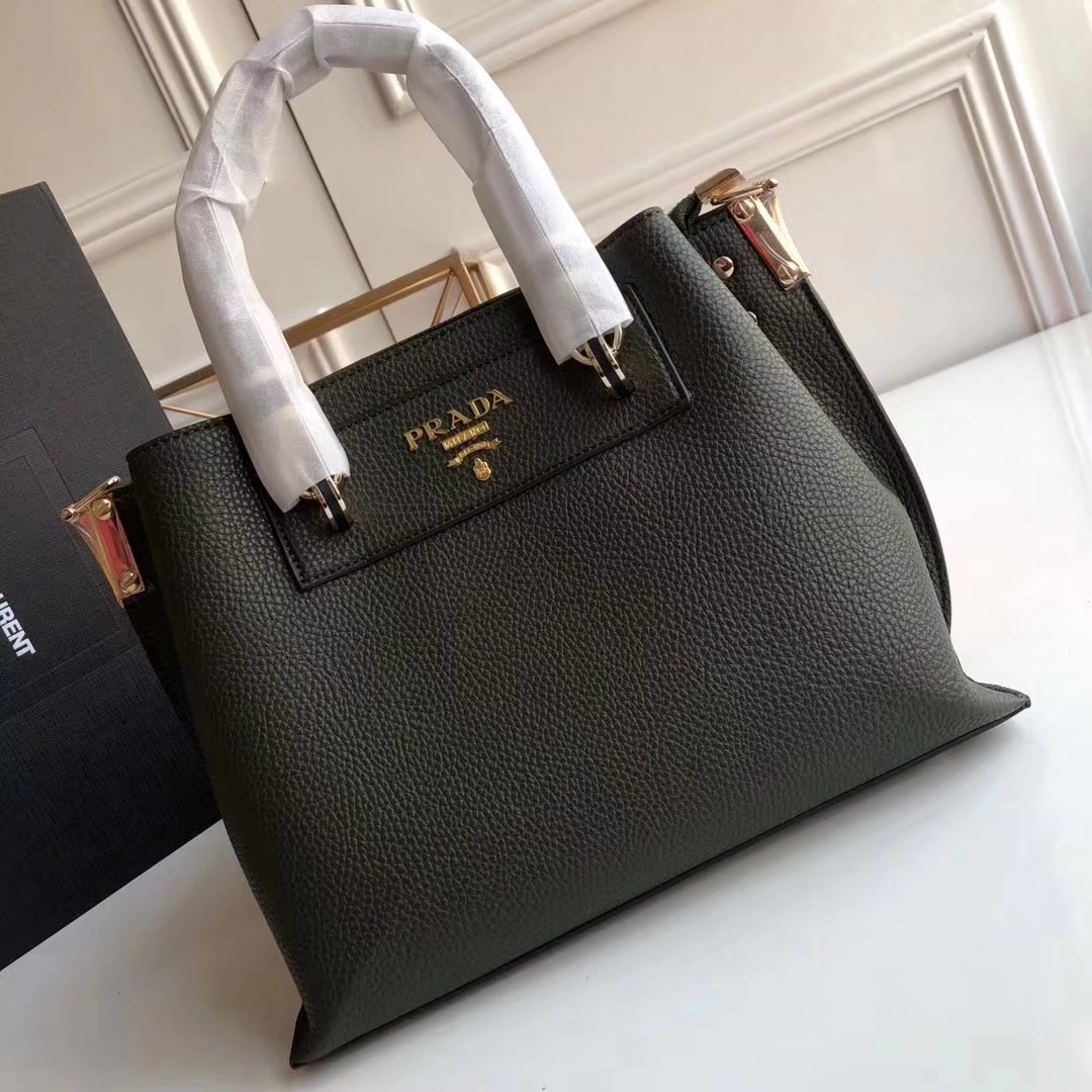 Prada 2018 Women Leather Tote Bag Green