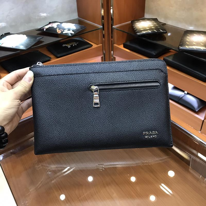 Prada 3166-7 Men Leather Zipper Clutch Bag Black