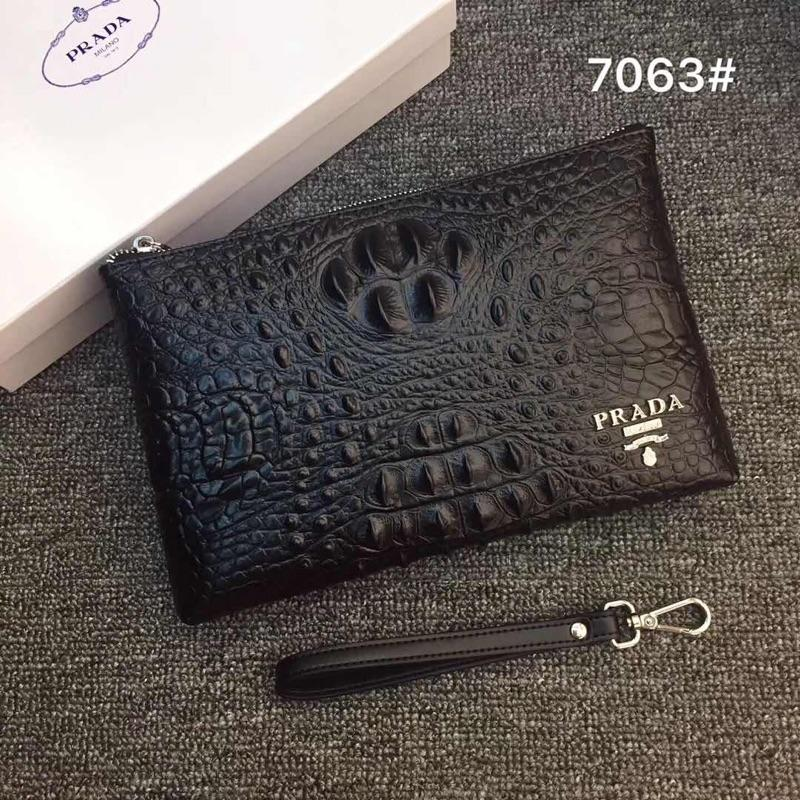 Prada 7063 Men Leather Zipper Clutch Bag Black
