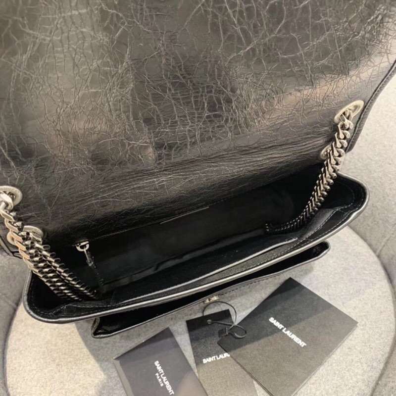 Replcai Saint Laurent NIKI Medium Bag in Crinkled Vintage Leather Black