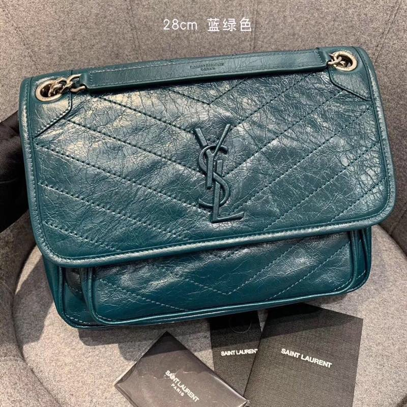 Replcai Saint Laurent NIKI Medium Bag in Crinkled Vintage Leather Blue
