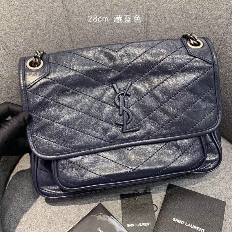 Replcai Saint Laurent NIKI Medium Bag in Crinkled Vintage Leather Dark Blue