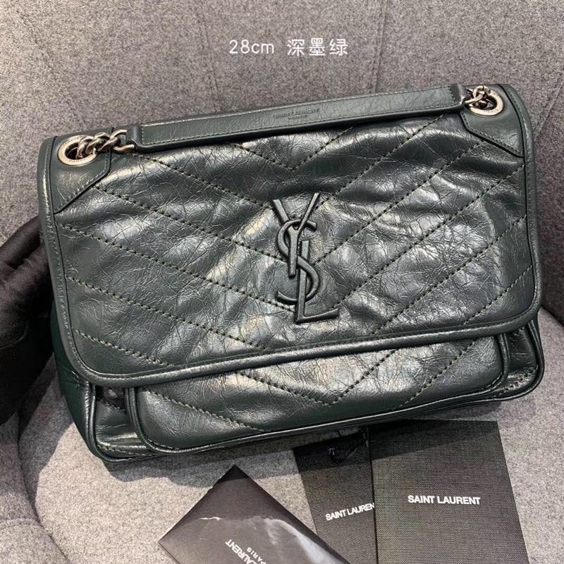 Replcai Saint Laurent NIKI Medium Bag in Crinkled Vintage Leather Dark Green