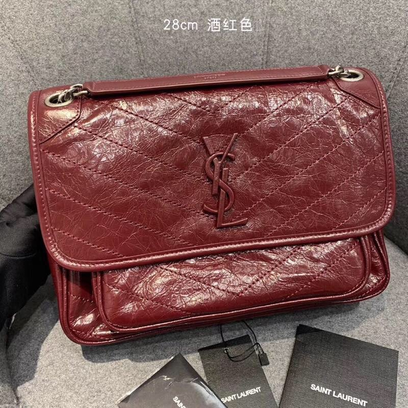 Replcai Saint Laurent NIKI Medium Bag in Crinkled Vintage Leather Dark Red