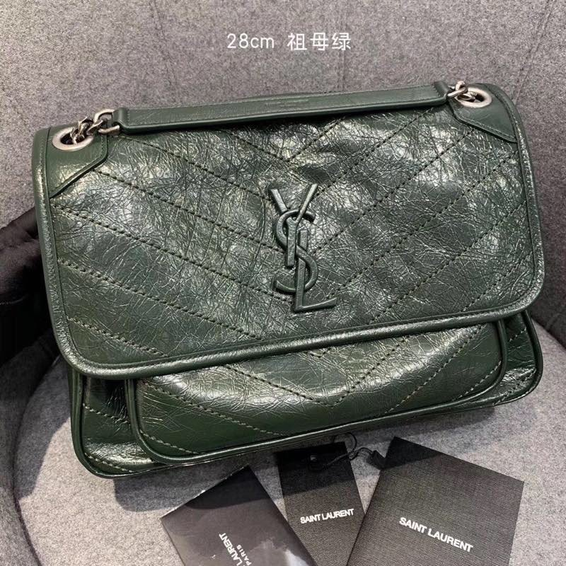Replcai Saint Laurent NIKI Medium Bag in Crinkled Vintage Leather Emerald