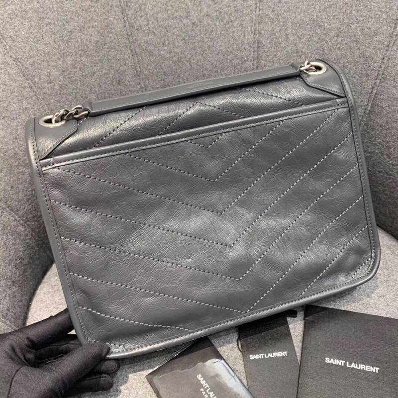 Replcai Saint Laurent NIKI Medium Bag in Crinkled Vintage Leather Gray