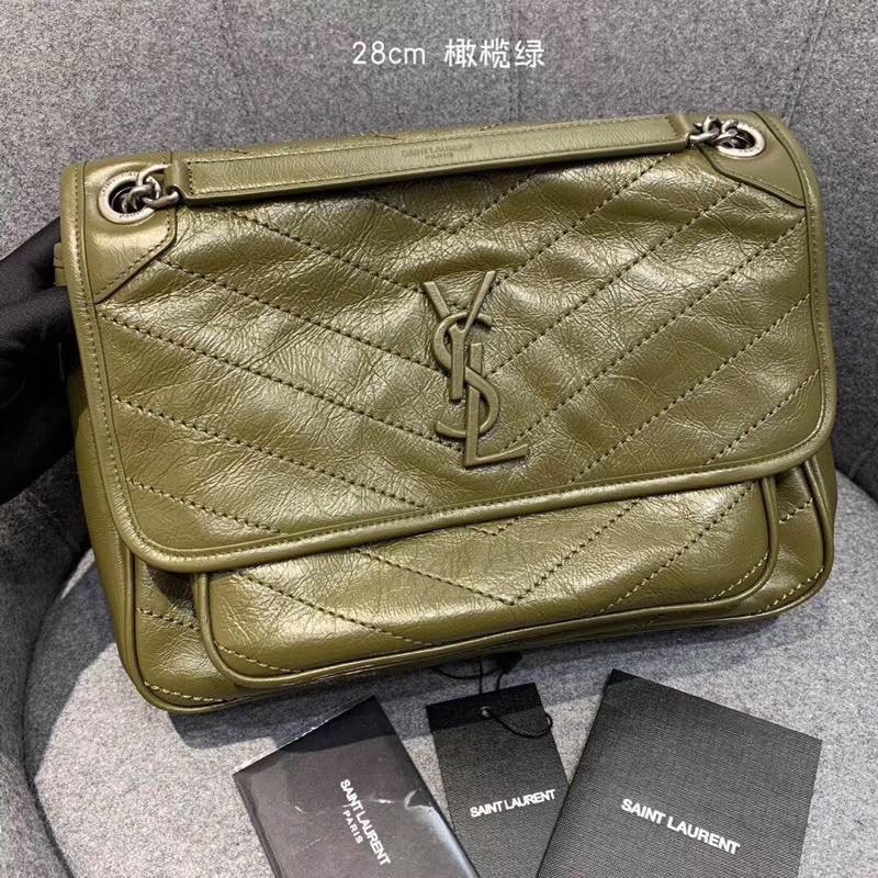 Replcai Saint Laurent NIKI Medium Bag in Crinkled Vintage Leather Olive Green