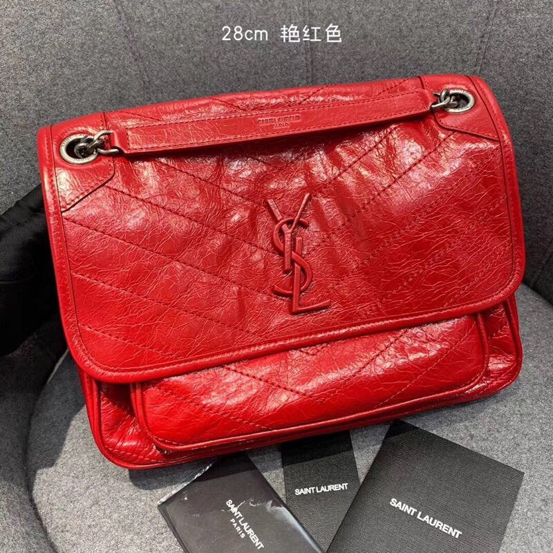 Replcai Saint Laurent NIKI Medium Bag in Crinkled Vintage Leather Red