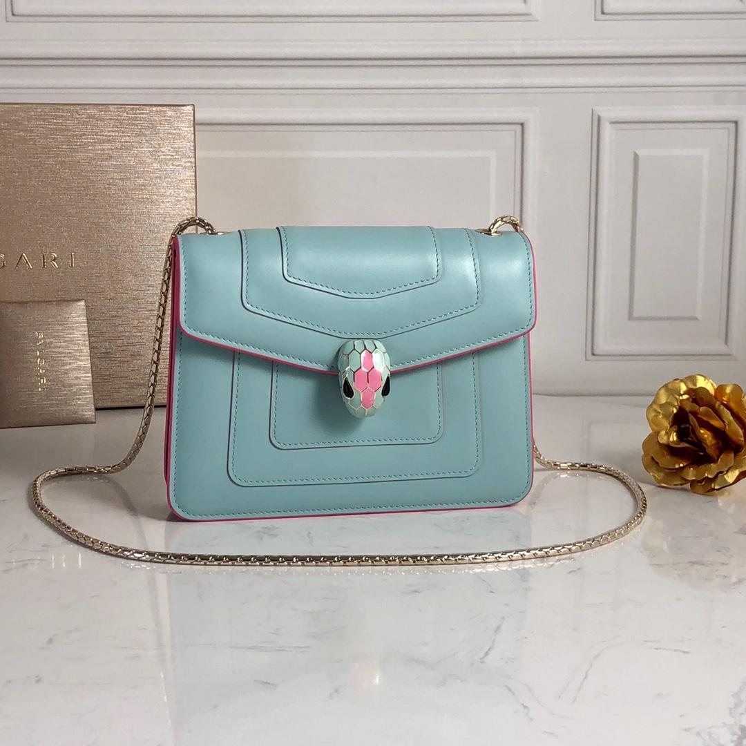 Replcia Bvlgari Serpenti Forever Crossbody Bag  in Glacier Turquoise Calf Leather
