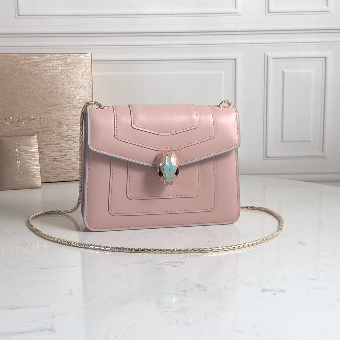 Replcia Bvlgari Serpenti Forever Crossbody Bag in Crystal Rose Calf Leather