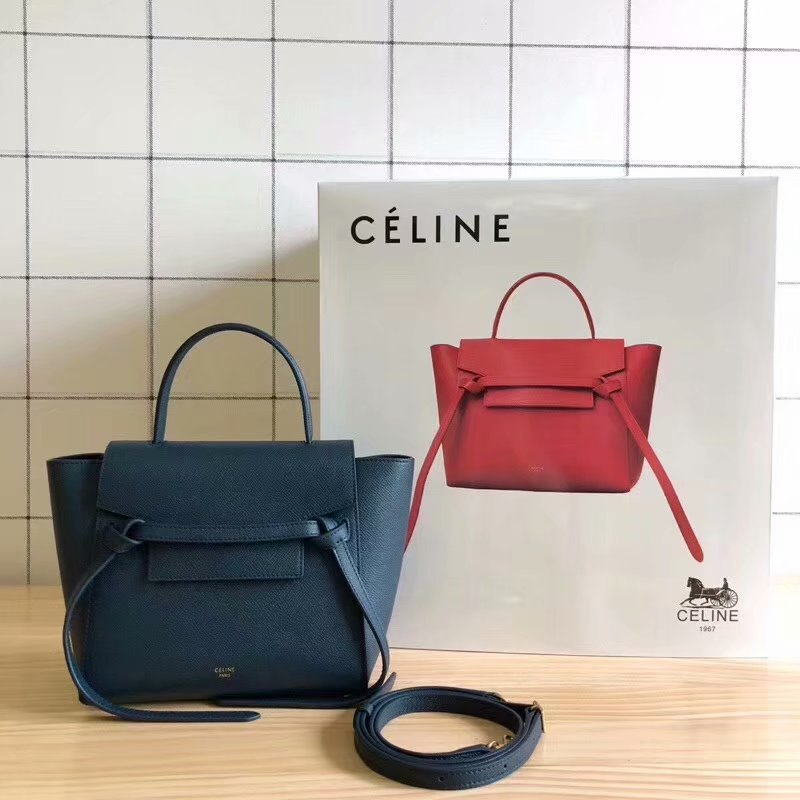 Replcia Celine Nano Belt Bag in Grained Calfskin Blue