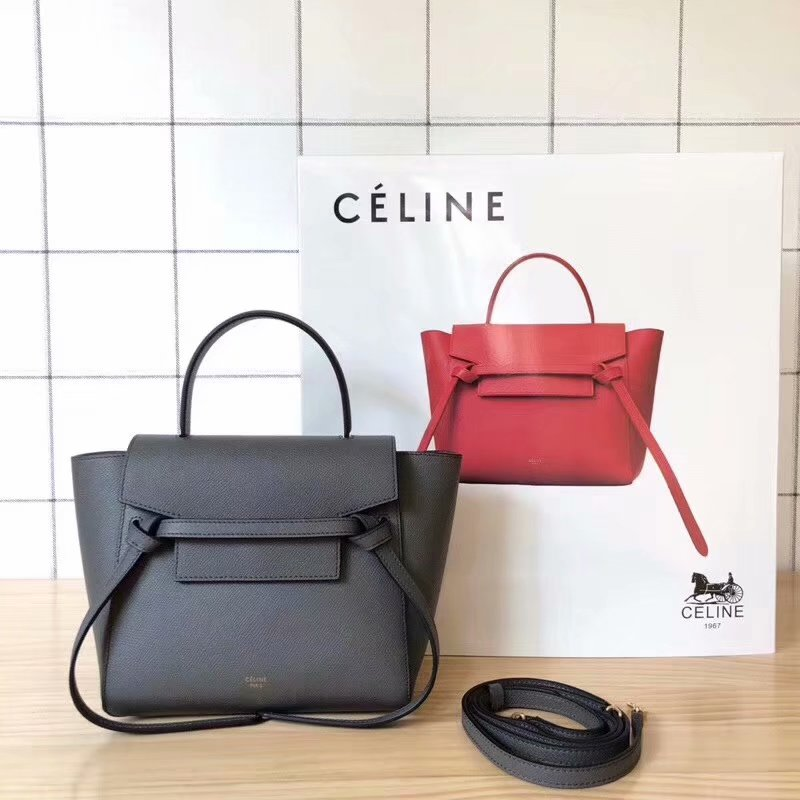 Replcia Celine Nano Belt Bag in Grained Calfskin Gray