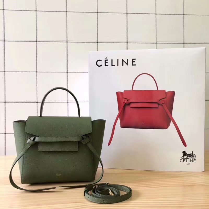 Replcia Celine Nano Belt Bag in Grained Calfskin Green