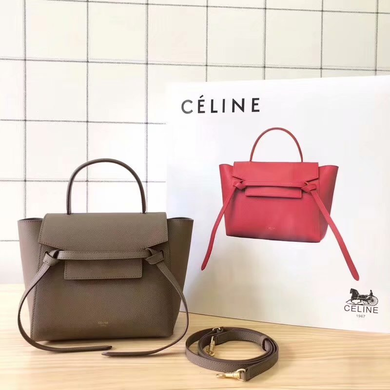 Replcia Celine Nano Belt Bag in Grained Calfskin Khaki