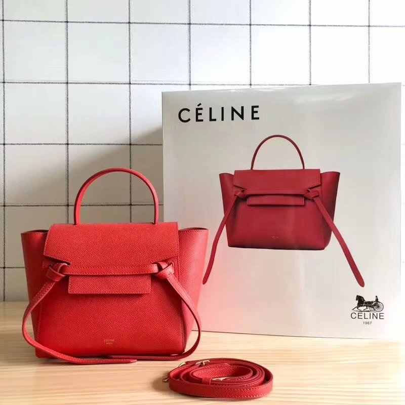 Replcia Celine Nano Belt Bag in Grained Calfskin Red