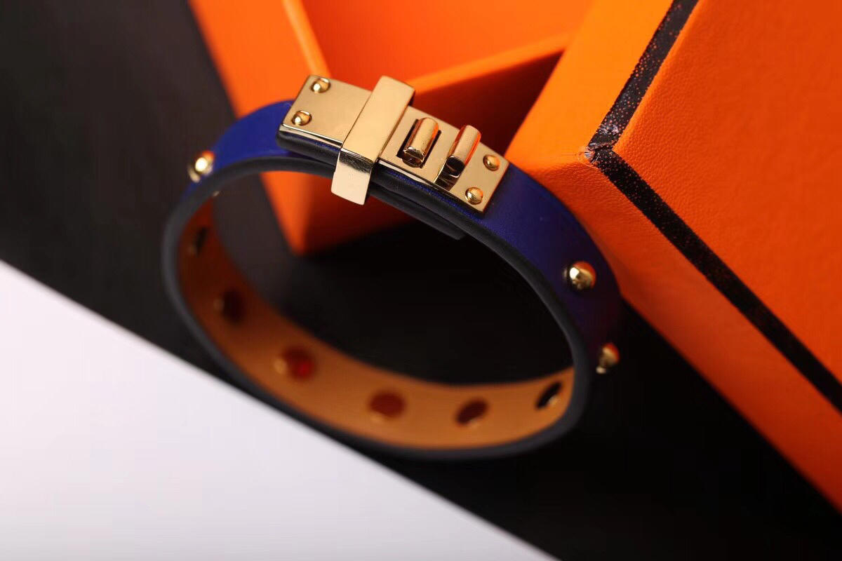 Replcia Hermes Punk Rivet Blue Leather Bracelet 003