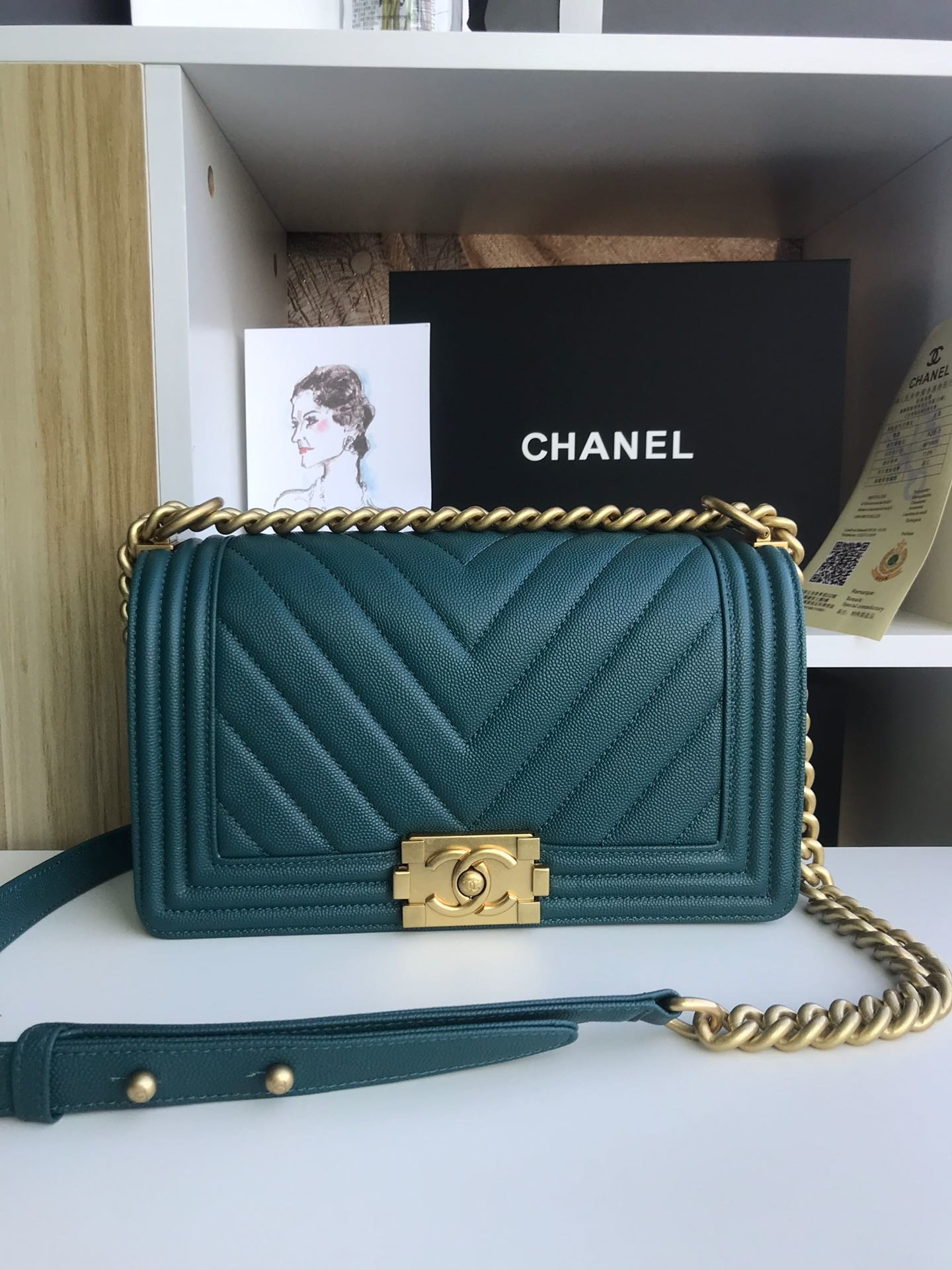 Replica 25cm V Boy Chanel Handbag Blue Grained Calfskin Gold Tone Metal