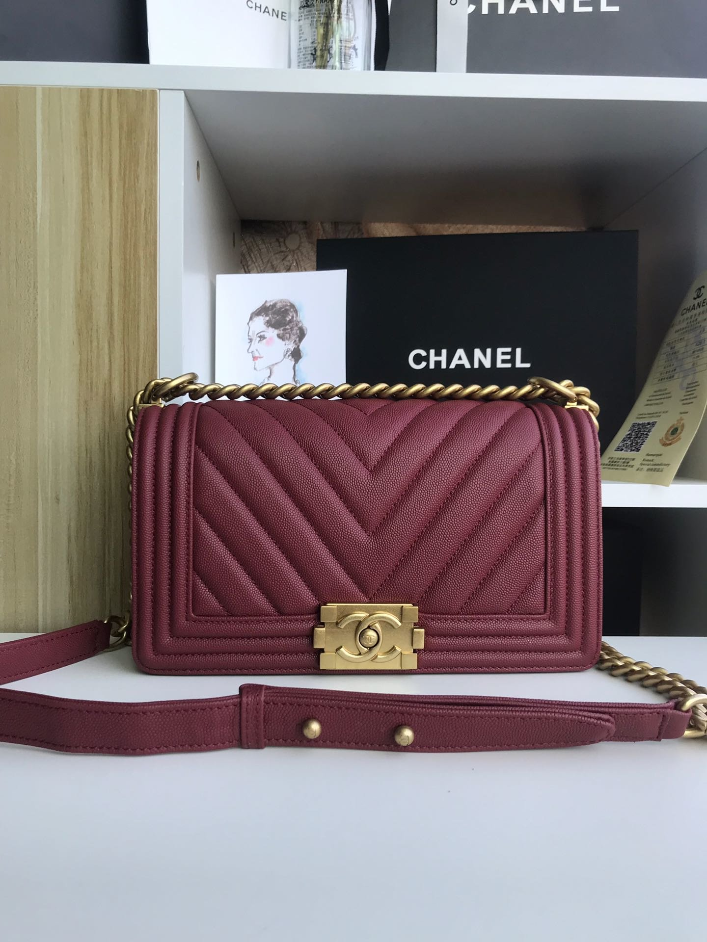 Replica 25cm V Boy Chanel Handbag Dark Red Grained Calfskin Gold Tone Metal