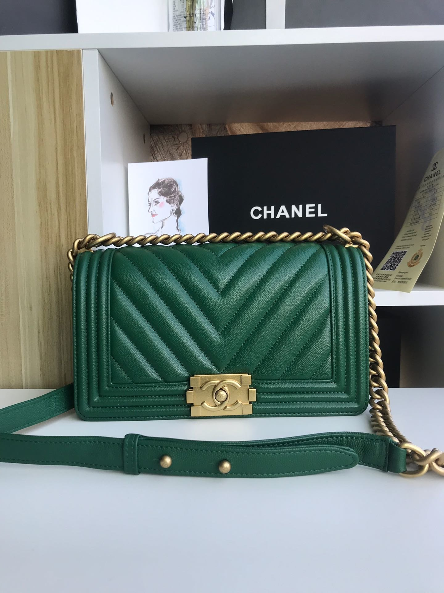 Replica 25cm V Boy Chanel Handbag Green Grained Calfskin Gold Tone Metal