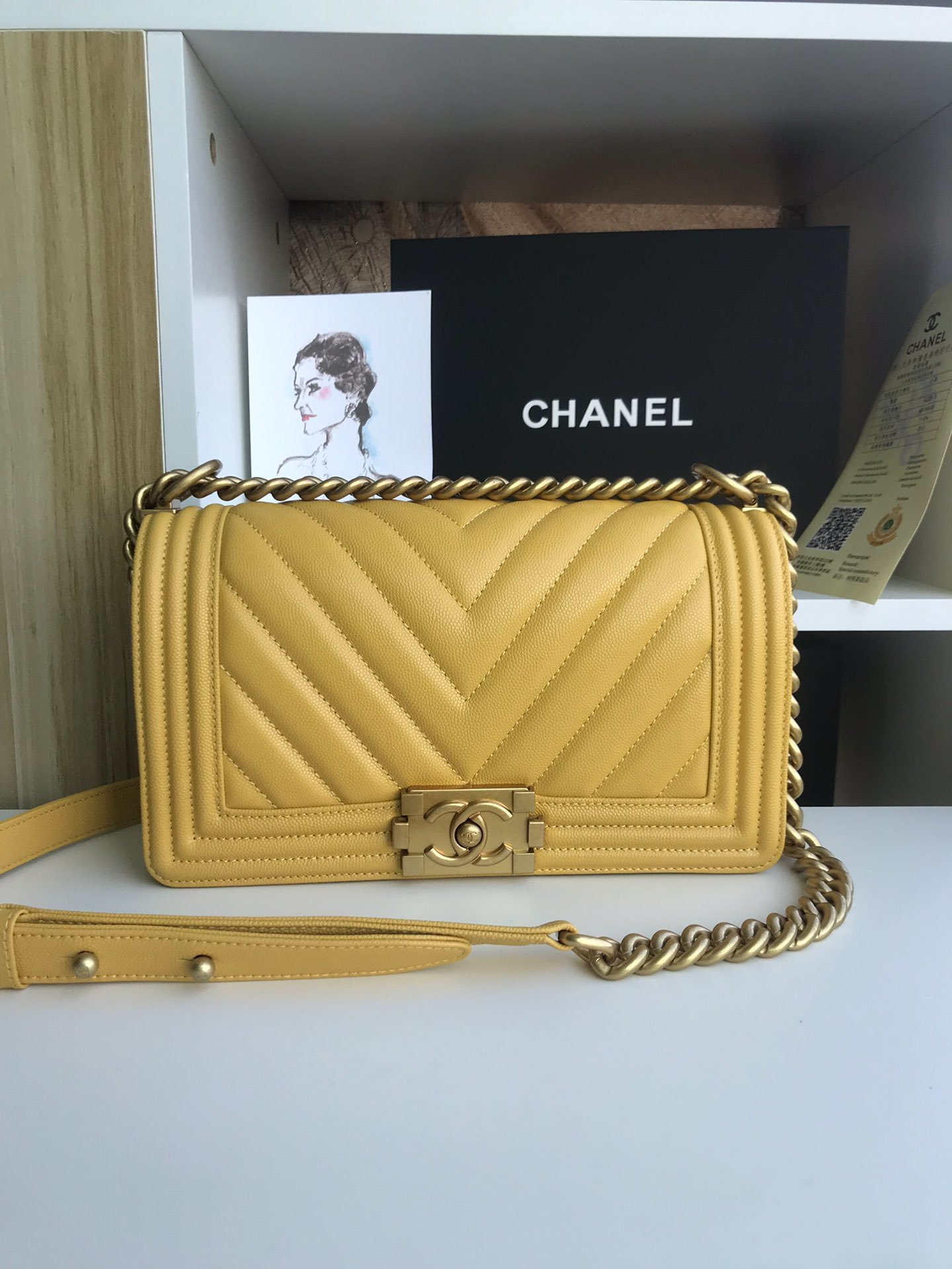 Replica 25cm V Boy Chanel Handbag Yellow Grained Calfskin Gold Tone Metal