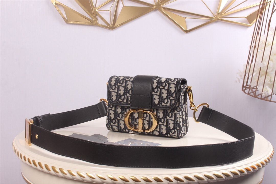 Replica 30 Montaigne Dior Oblique Bagembroidered Canvas Black