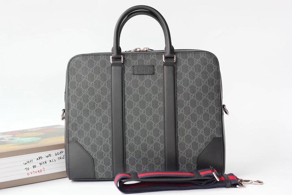 Replica 474135 Gucci Men Grey Briefcase