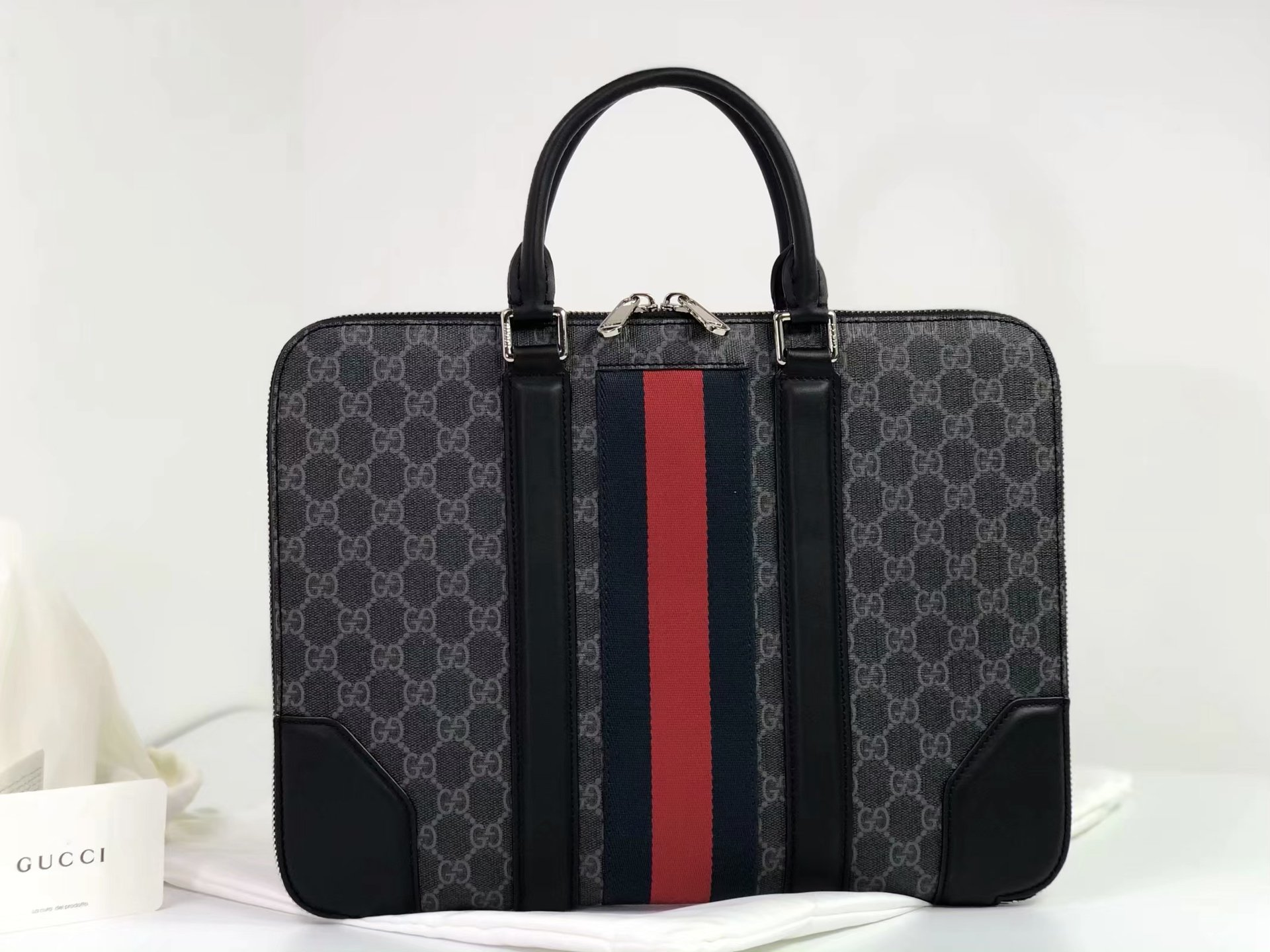 Replica 523604 Gucci Men Briefcase GG Supreme Canvas in black Grey Combination