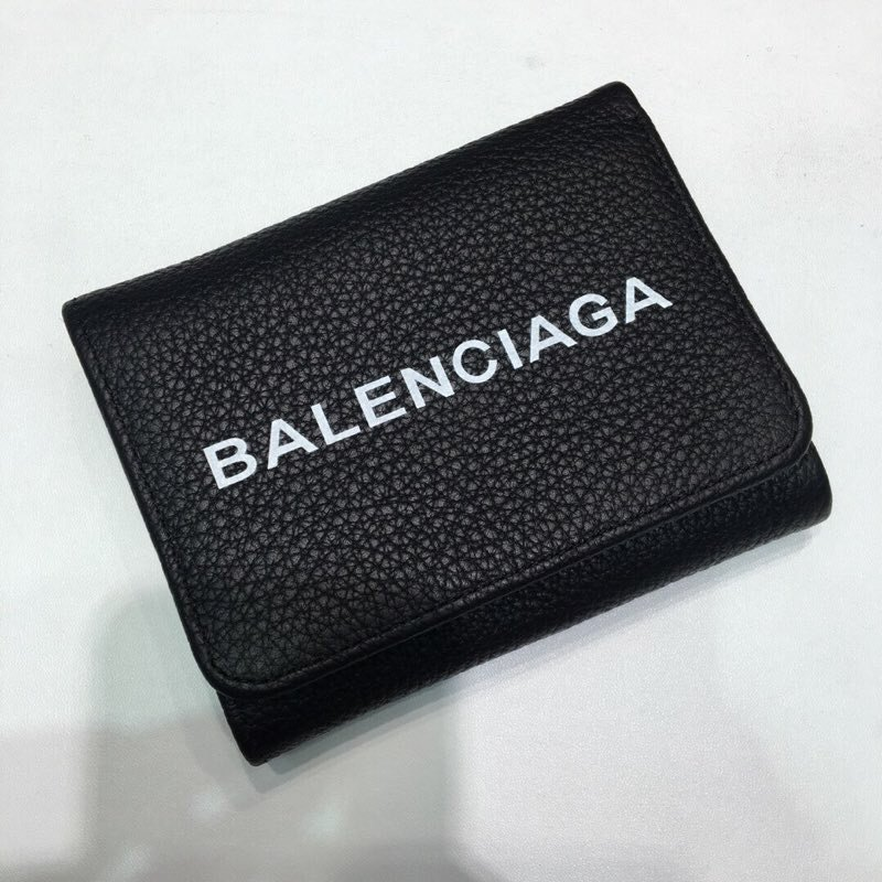 Replica Balenciaga New Men Wallet Black Leather