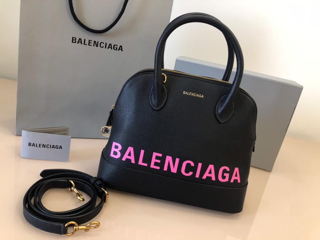 Replica Balenciaga Ville Top Handle Bag Grained Calfskin Black with Pink Logo