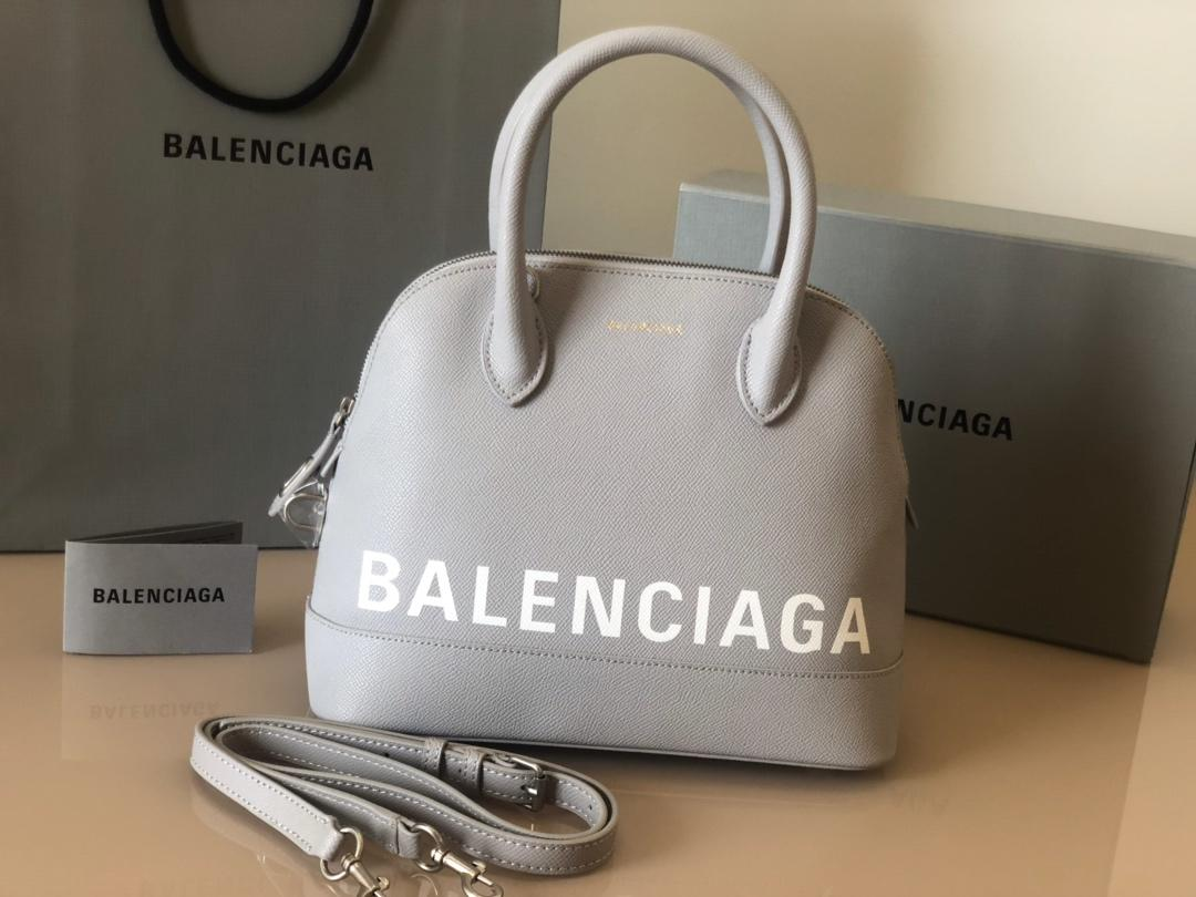 Replica Balenciaga Ville Top Handle Bag Grained Calfskin Gray