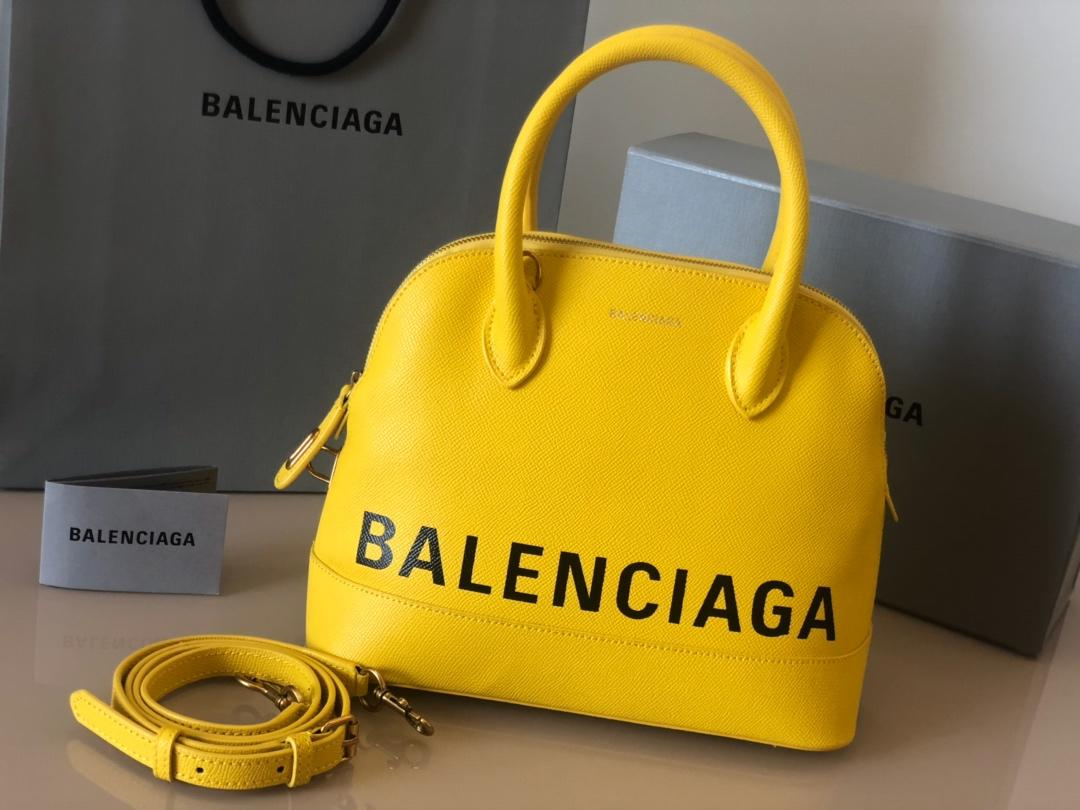 Replica Balenciaga Ville Top Handle Bag Grained Calfskin Yellow