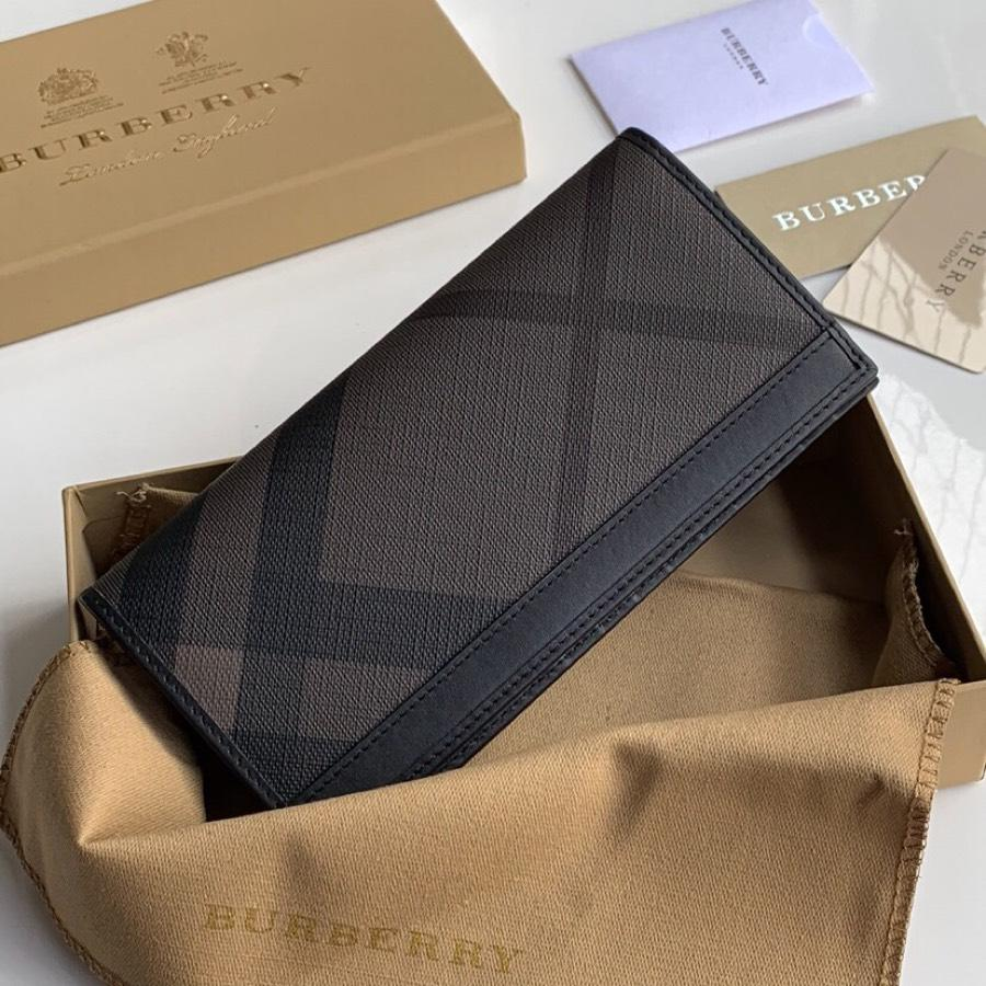 Replica Burberry Men Vintage Check Leather Long Wallet Black Br01