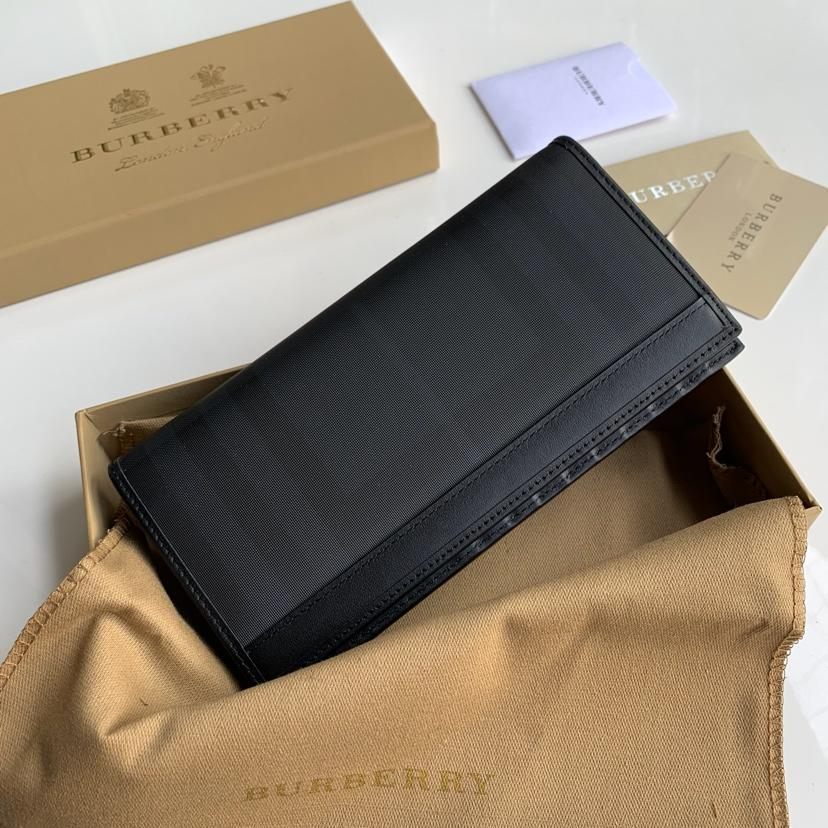 Replica Burberry Men Vintage Check Leather Long Wallet Black Br02