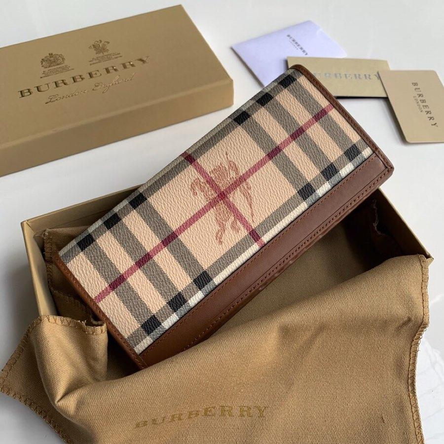Replica Burberry Women Vintage Check Leather Long Wallet Coffee