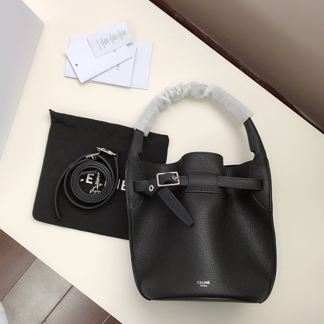 Replica Celine Big Bag Nano Bucket in Supple grained Calfskin Black
