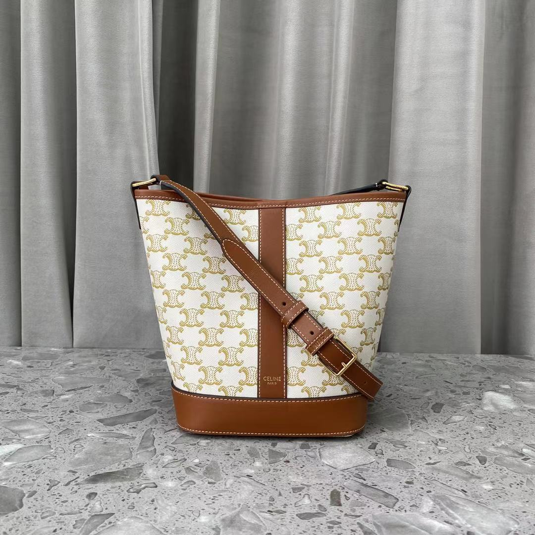 Replica Celine Small Buket In Triomphe Canvas And Calfskin White