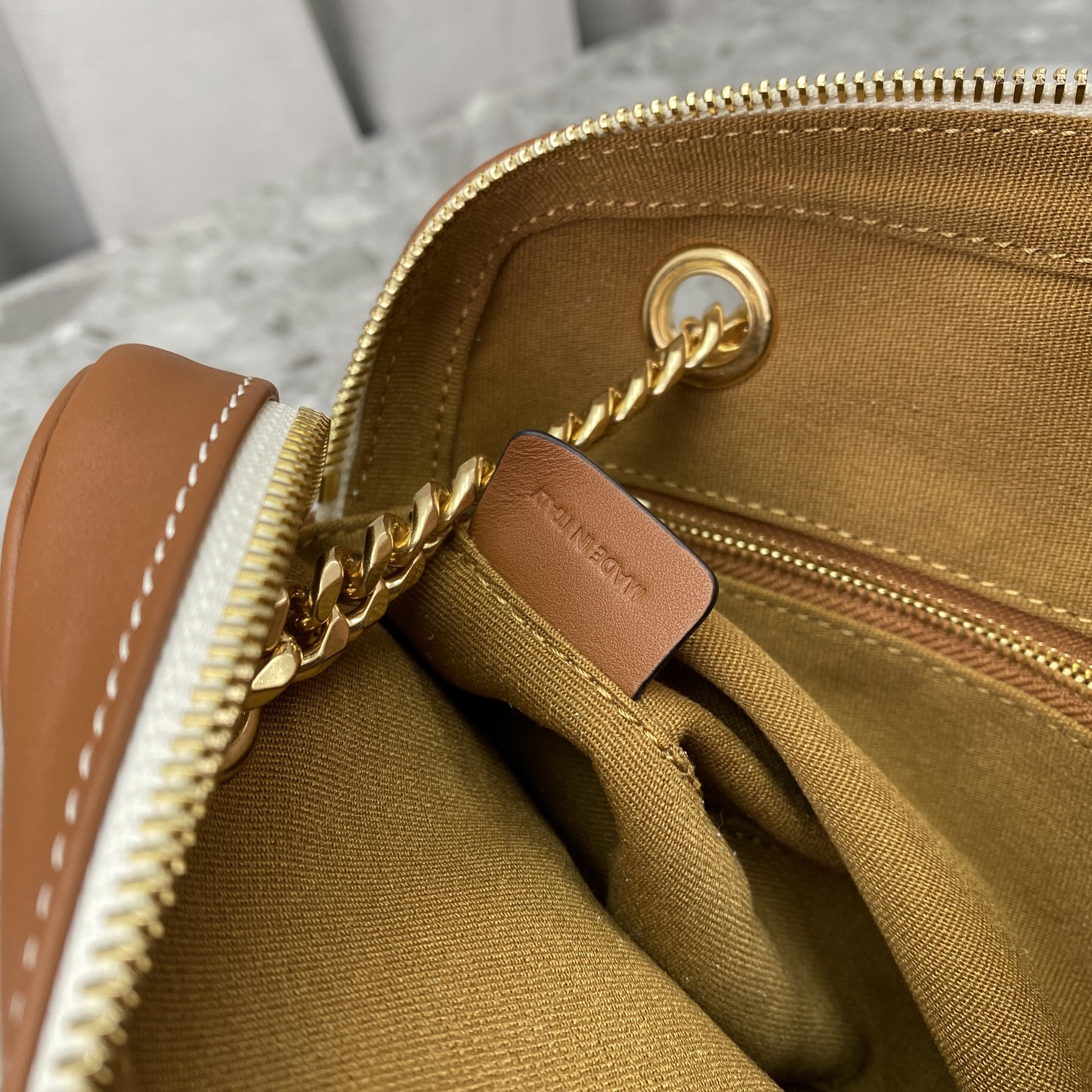 Replica Celine Small Patapans Bag In Triomphe Canvas And Calfskin White