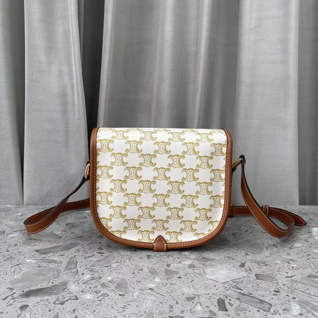 Replica Celine Small Shoulder Bag In Triomphe Canvas And Calfskin White