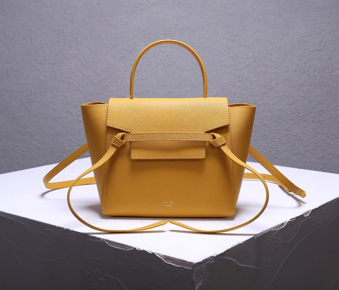 Replica Celine Women Nano Belt Bag in Grained Calfskin Ocre