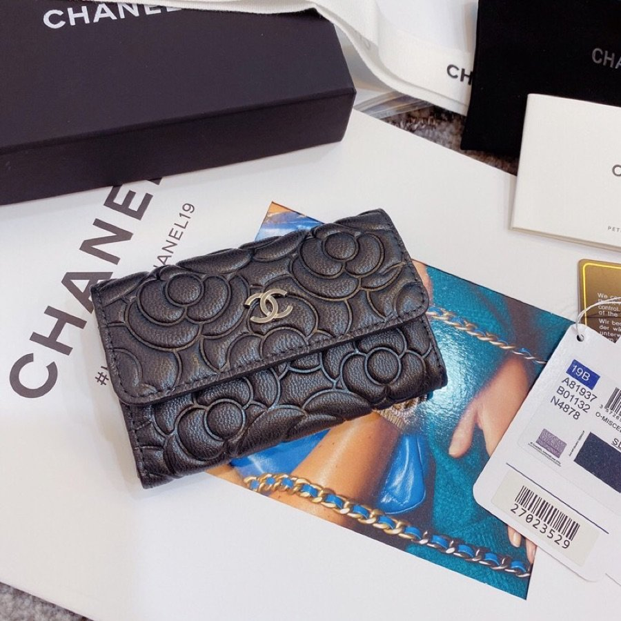 Replica Chanel  Flap Card Holder Satin Finish Goatskin Gold Metal Black