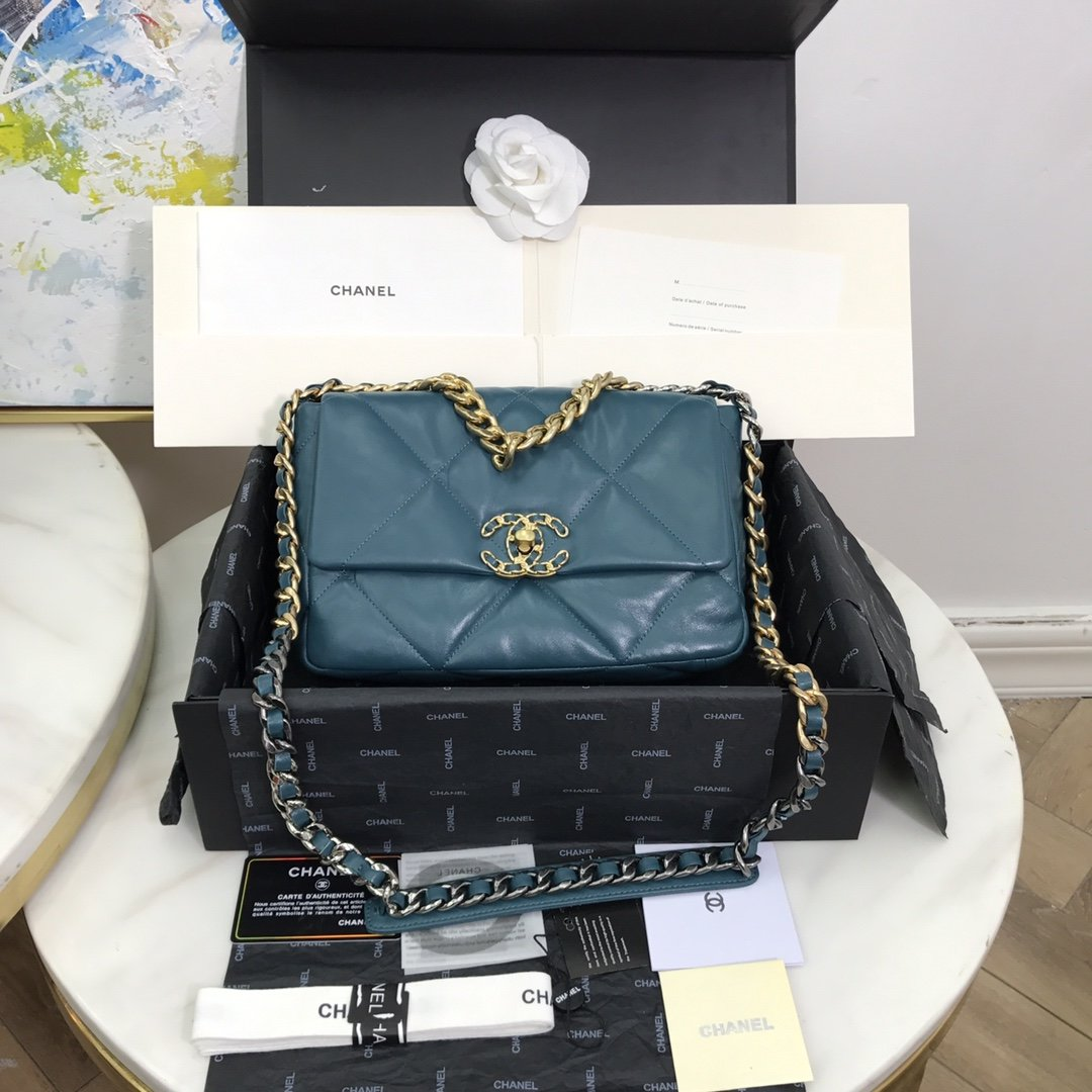 Replica Chanel 19 Large Flap Bag Lambskin Gold-Tone Silver-Tone  Ruthenium-Finish Metal AS1161 Turquoise