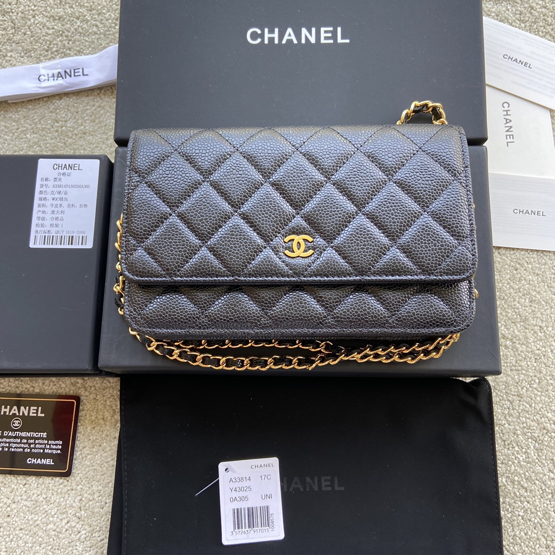 Replica Chanel A33814 Women Classcics Wallet On Chain Black Caviar Leather with Gold