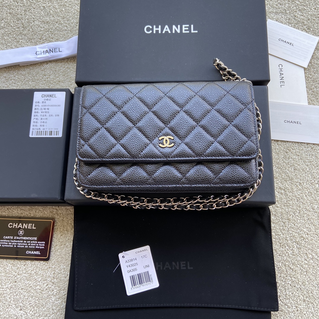 Replica Chanel A33814 Women Classcics Wallet On Chain Black Caviar Leather with Sliver