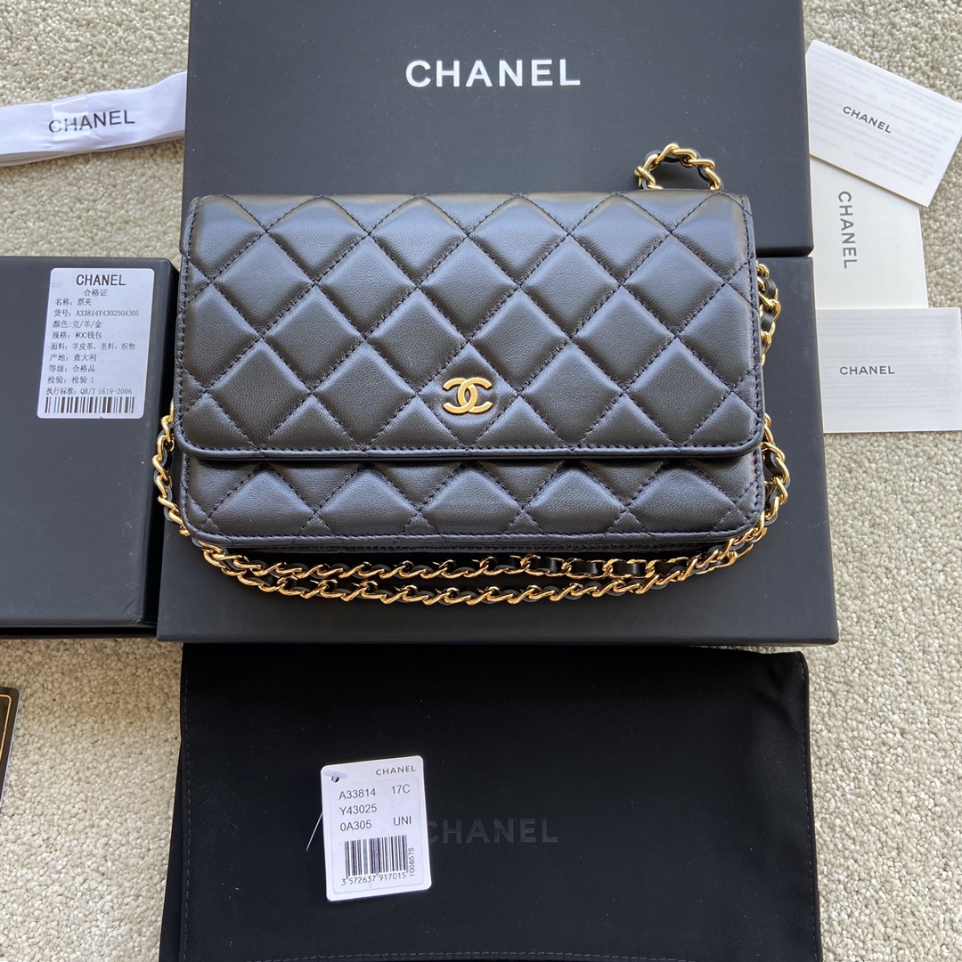 Replica Chanel A33814 Women Classcics Wallet On Chain Black Leather with Gold