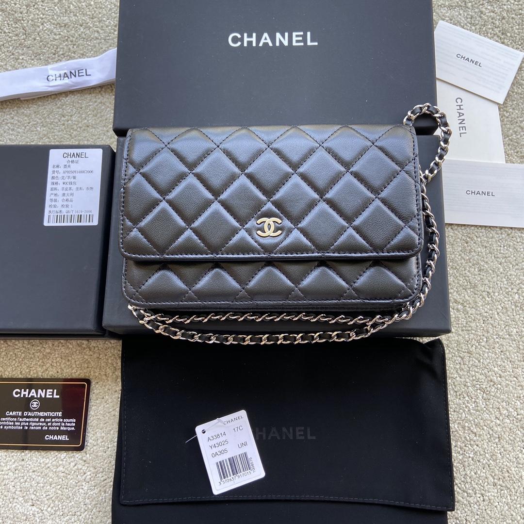 Replica Chanel A33814 Women Classcics Wallet On Chain Black Leather with Sliver