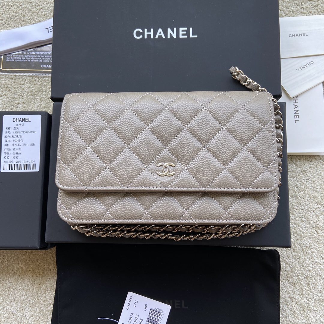Replica Chanel A33814 Women Classcics Wallet On Chain Gray with Sliver