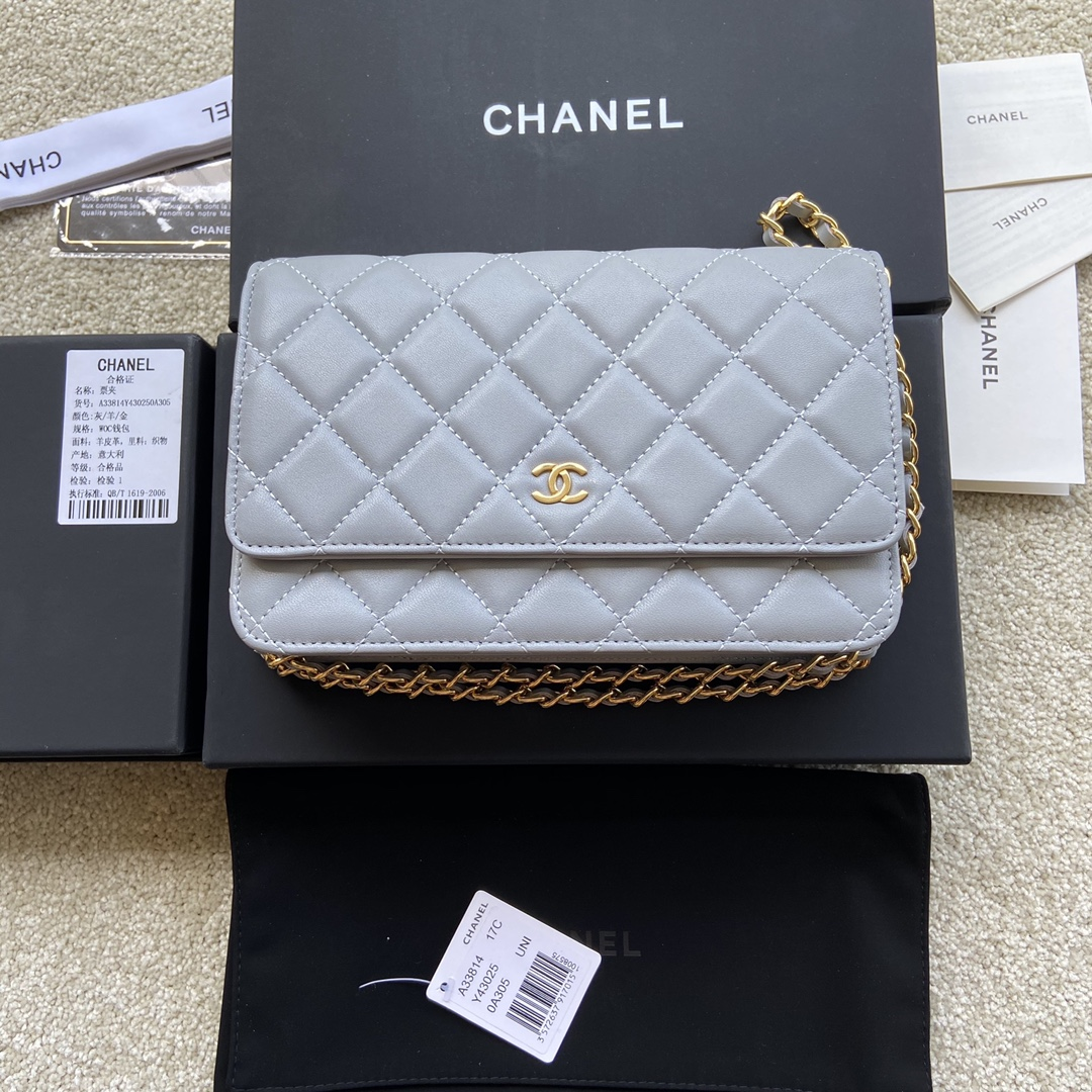 Replica Chanel A33814 Women Classcics Wallet On Chain Light Gray with Gold
